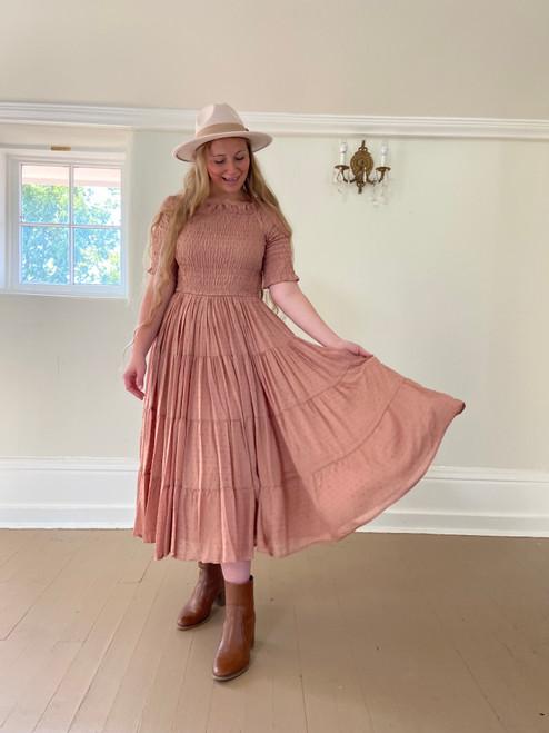 Eliza Swiss Dot Smocked Twirl Dress *Dusty Rose*