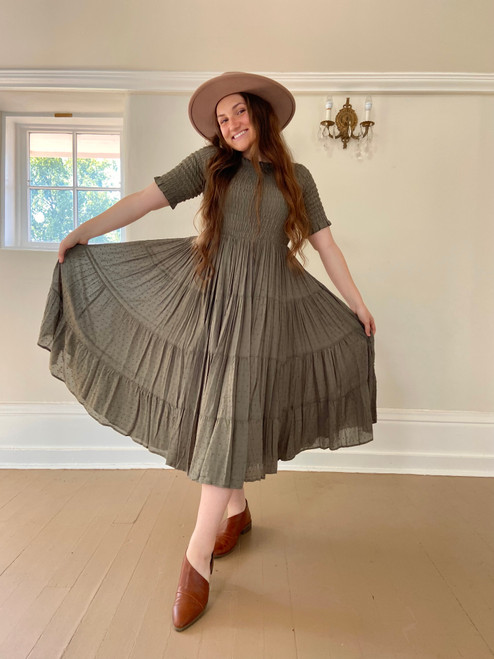 Eliza Swiss Dot Smocked Twirl Dress *Olive*