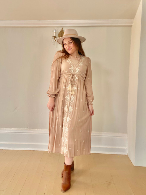 Bohemian Tassel Embroidered Dress *Taupe*