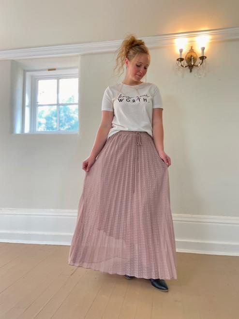 Pleated Polka Dot Maxi Skirt *Dusty Pink*