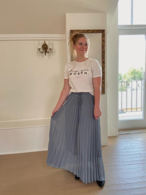 Pleated Polka Dot Maxi Skirt *Dusty Blue*