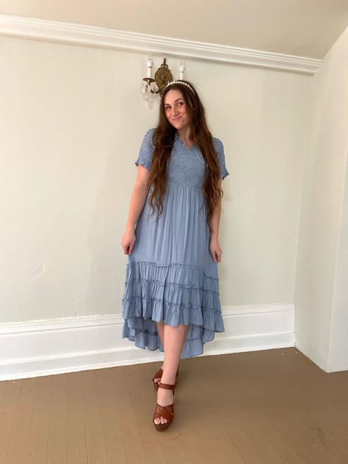 By the Boardwalk Smocked Dress *Dusty Blue*