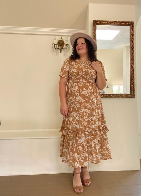 Aubrey Floral Smocked Dress *Taupe*