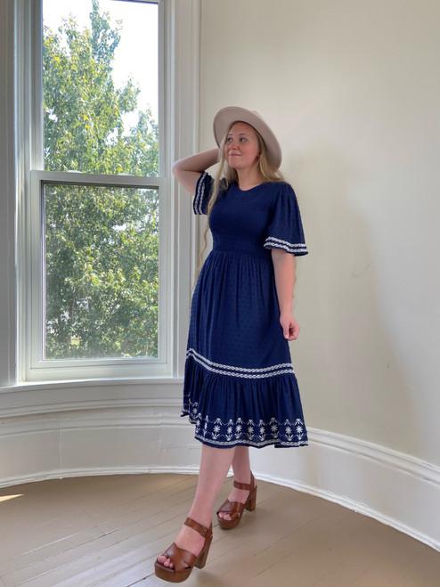 Kala Smocked Dress *Navy*