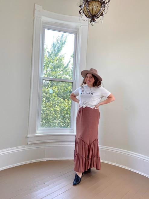 Aleah Ruffled Maxi Skirt *Dusty Rose*