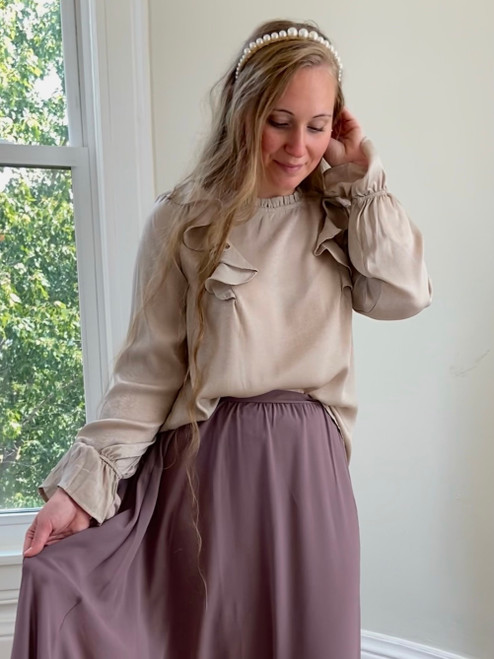 Simple Perfection Ruffle Blouse *Champagne*