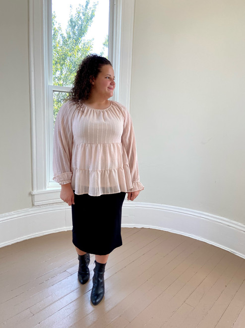Babydoll Tiered Blouse *Champagne*