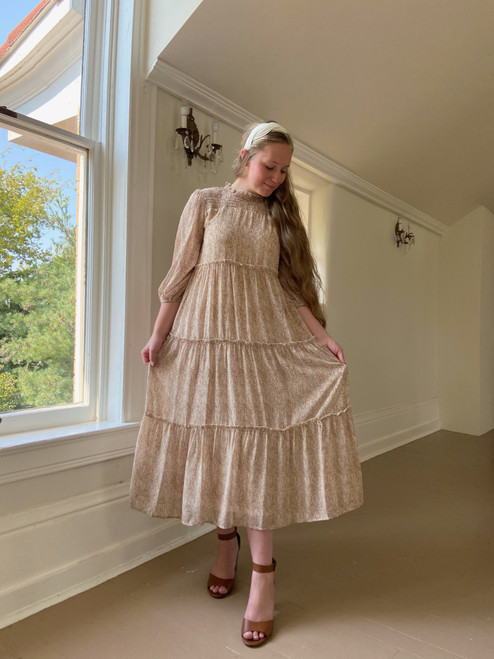 Falling For You Tiered Dress *Taupe*