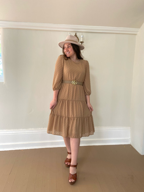 Olivia Dotted Swiss Tiered Dress *Taupe*