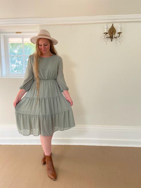 Olivia Dotted Swiss Tiered Dress *Sage*