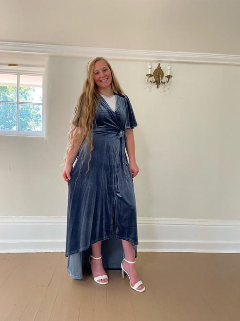 Eleanor Velvet Wrap Dress *Slate Blue*