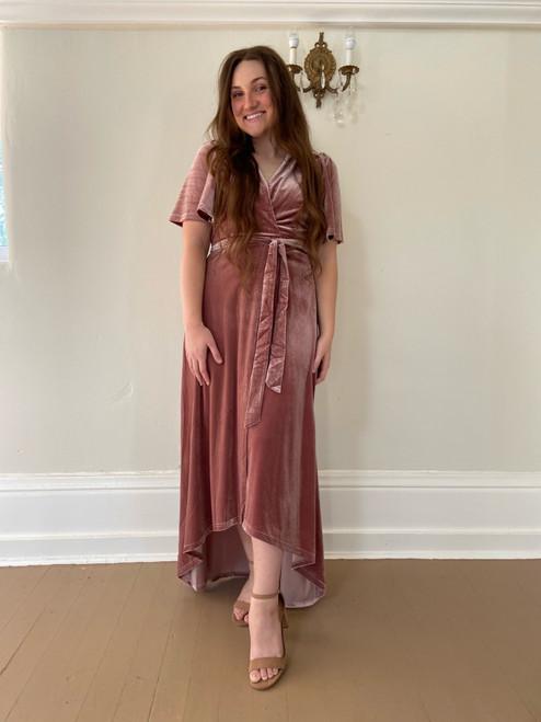 Eleanor Velvet Wrap Dress *Mauve*