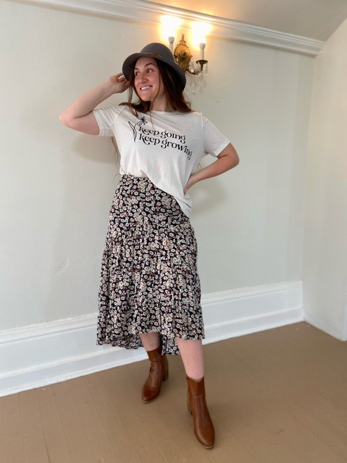 Mia High Low Ruffle Skirt *Black*