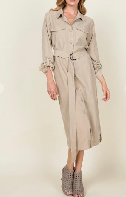 Hayden Belted Shirt Dress *Beige*