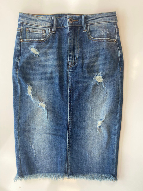 Charlotte Distressed Denim Skirt *Juniors Fit* Darker Wash