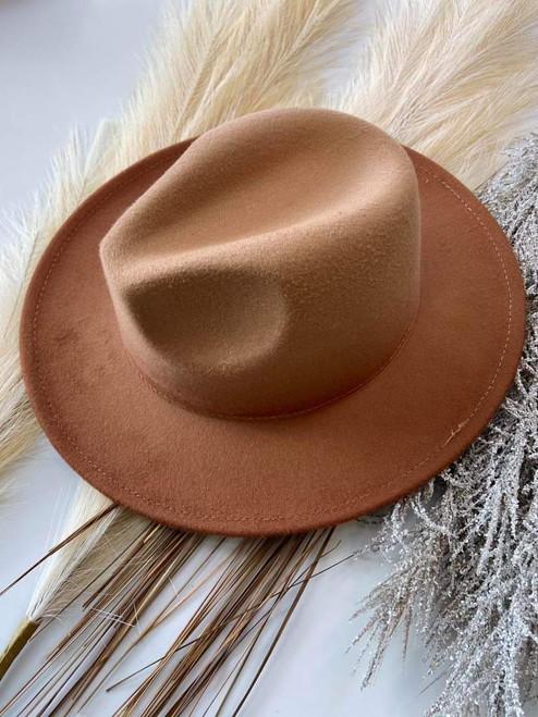 Addi Boutique Felt Brim Hat *Tan Ombre*