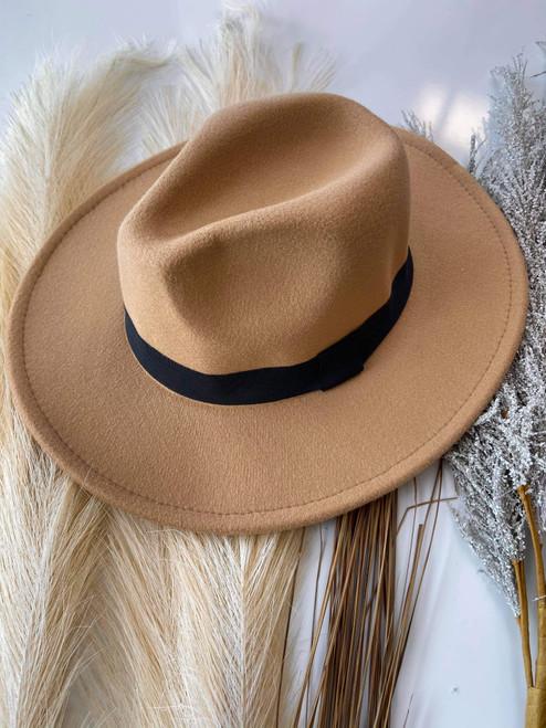 Mel Boutique Felt Brim Hat *Tan/Black*