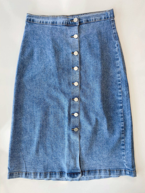 Gabe Button Denim Skirt