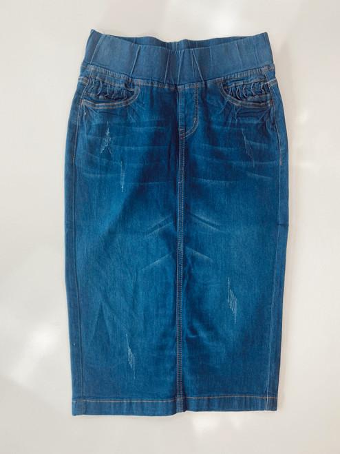 Elastic Waist Denim Skirt  *Indigo Wash*