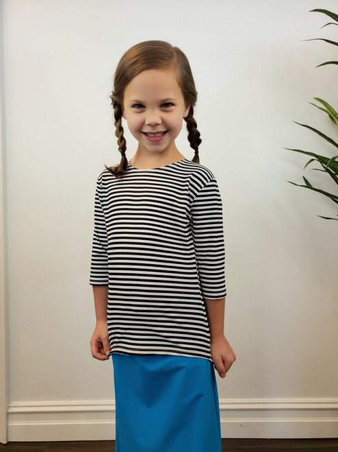 Girl's Modest Swim Top Black Stripe Final Sale