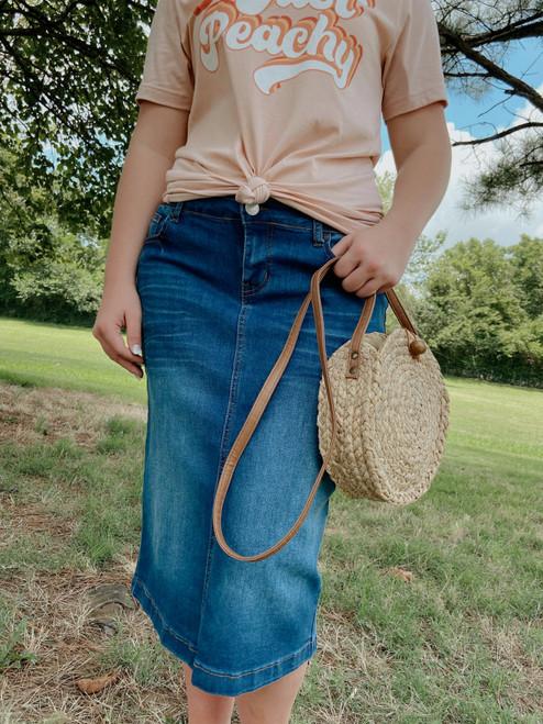 Bridget Whiskered Denim Skirt *Indigo Wash*