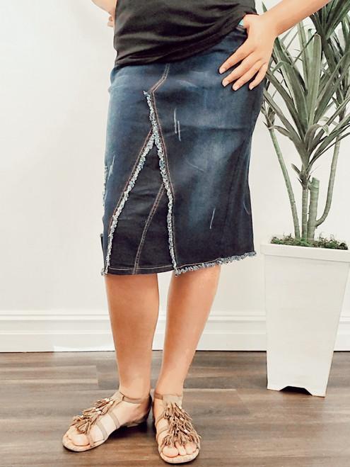 Cecilia Distressed Denim Skirt *Dark Wash*