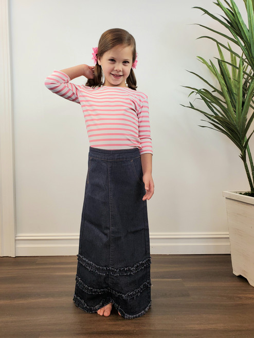 Gillie Girls Ruffle Modest Denim Skirt