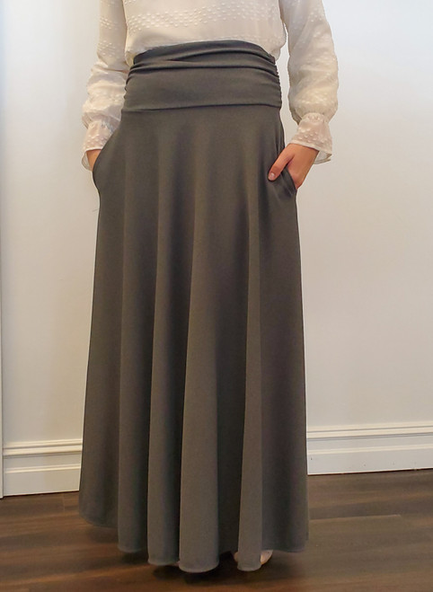 Elizabeth Full Modest Maxi Skirt in Charcoal
