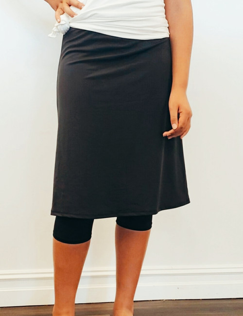 Modest Swim Athletic Skirt With Leggings *Black*