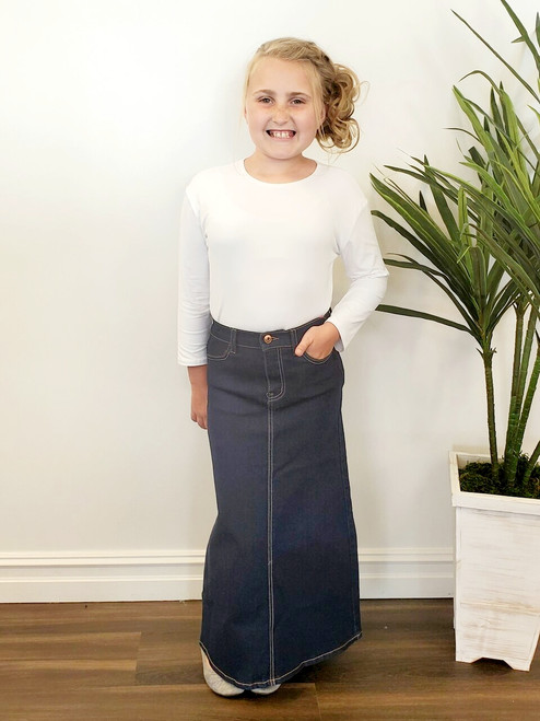 Cami *Girls* Long Modest Denim Skirt Dark Wash