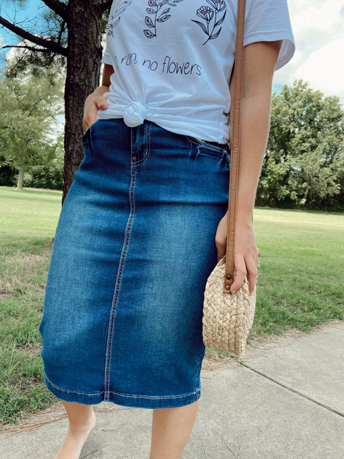 Sidney Decorative Pocket Denim Skirt *Indigo Wash*