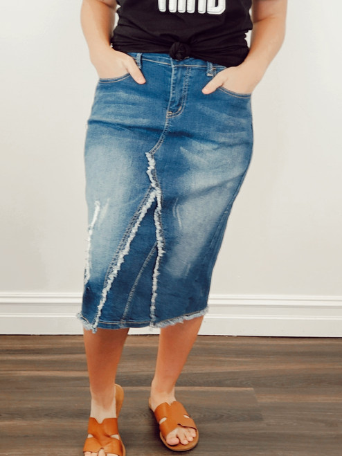 Cecilia Distressed Denim Skirt *Indigo Wash*
