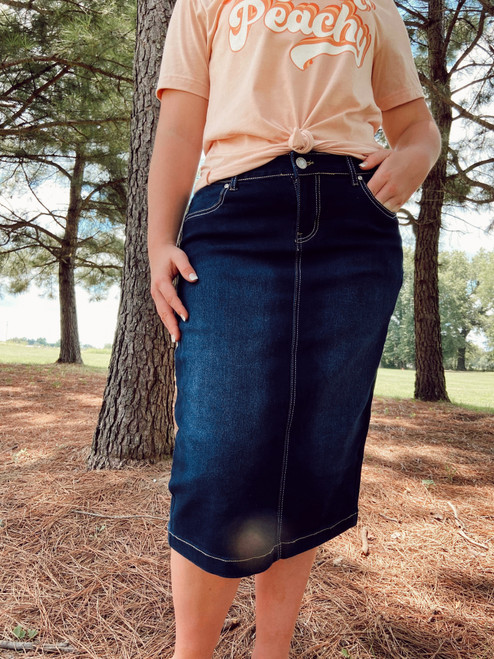 Sidney Decorative Pocket Denim Skirt *Dark Wash*