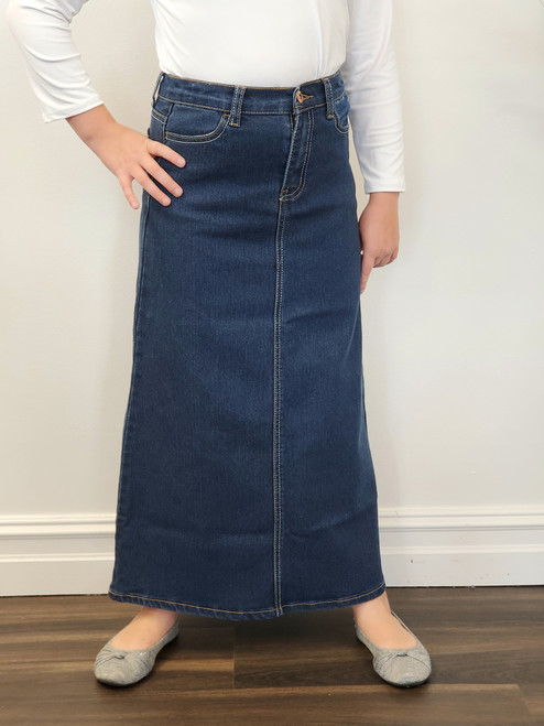 b8674104f217 Tabitha Modest Denim Skirt - The Klassy Girl Boutique