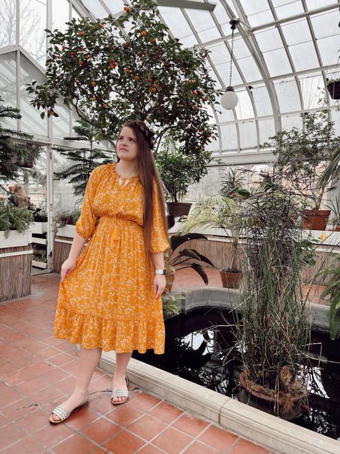 Floral Meadows Tassel Tie Dress *Golden*