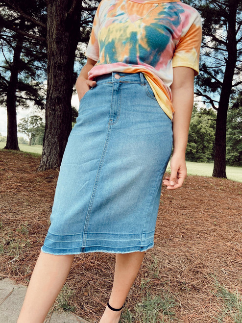 Emma Denim Skirt Light Wash