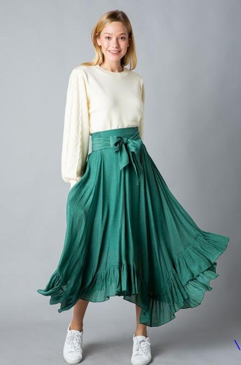 It's Magic Ruffle Flutter Skirt in Green