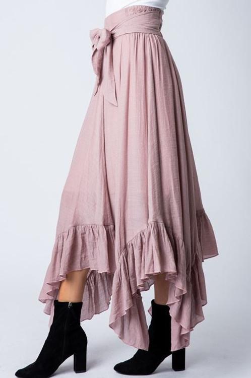 It's Magic Ruffle Flutter Skirt in Mauve *Final Sale*