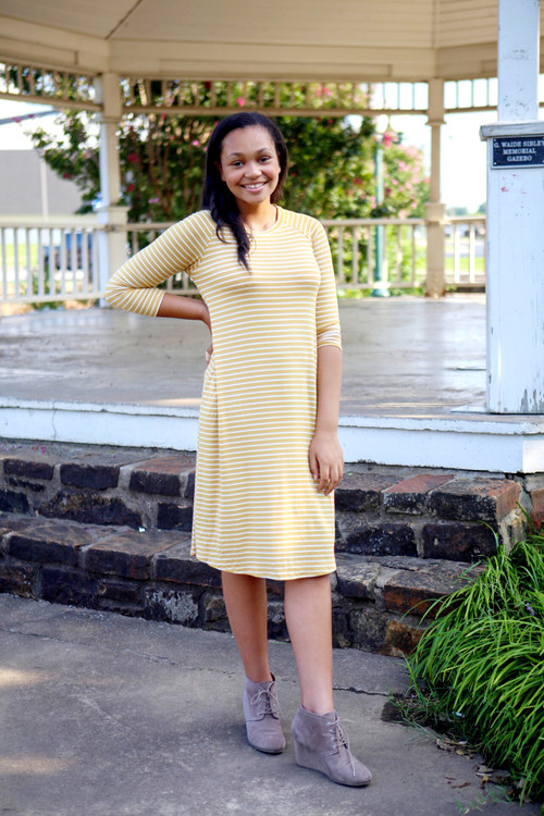 In This Moment Swing Dress Golden Stripe *Final Sale*