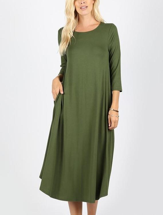 Cyber Deals T Shirt Swing Dress Olive
