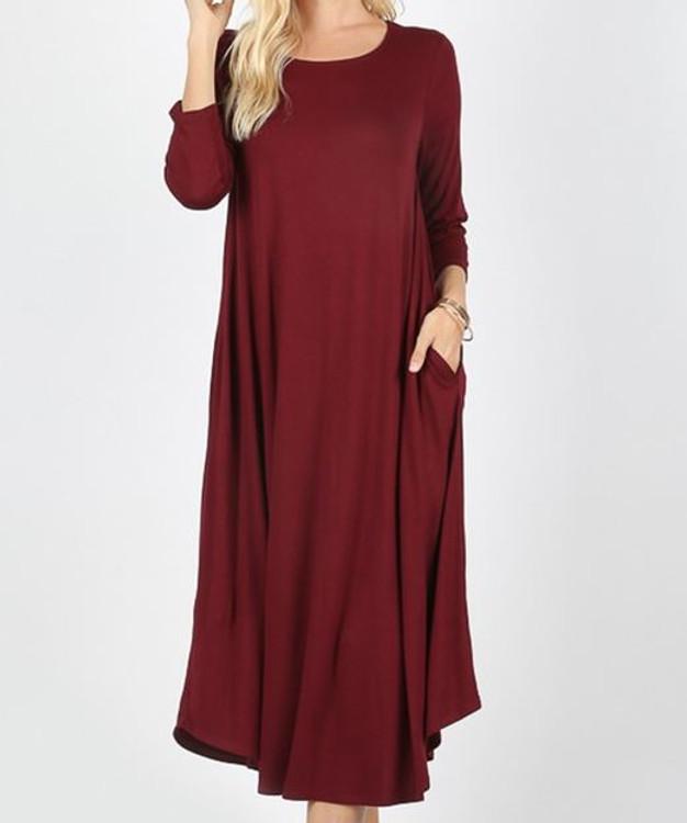 T Shirt Swing Dress Burgundy *Long Sleeve*