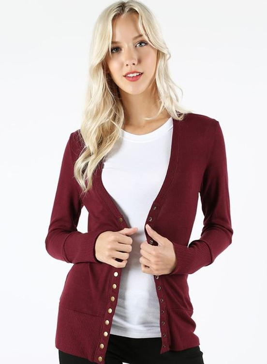 Courtney Snap Cardigan in Burgundy