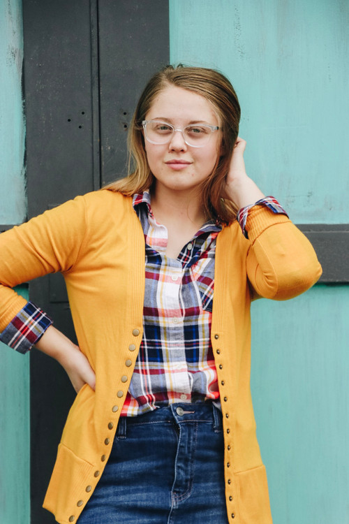 Courtney Snap Cardigan in Mustard