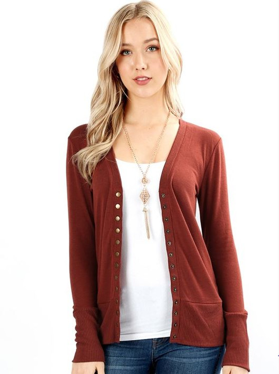 Courtney Snap Cardigan in Rust