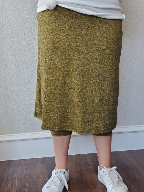 Athletic Skirt With Leggings Marled Mustard *Final Sale*