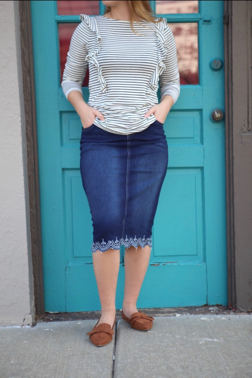 Lacey Denim Skirt Dark Wash