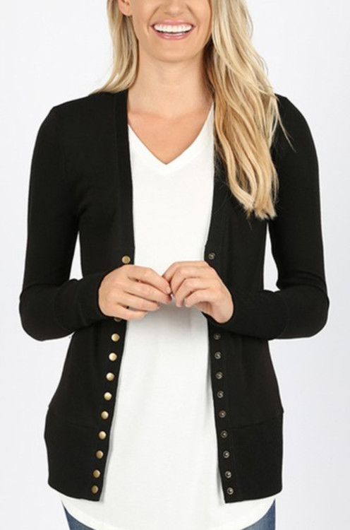 Courtney Snap Cardigan in Black