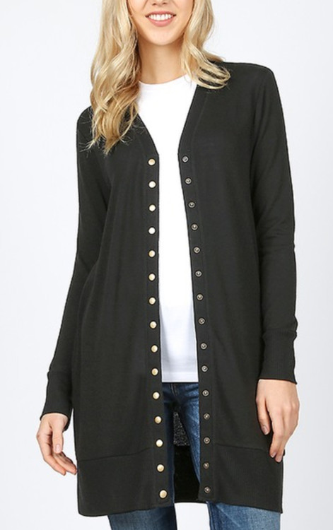 Cyber Deals Cassidy Long Boyfriend Snap Cardigan in Black