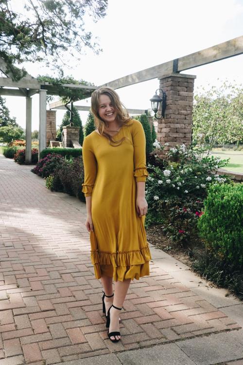 Reflective Moments Ruffle Swing Dress Mustard