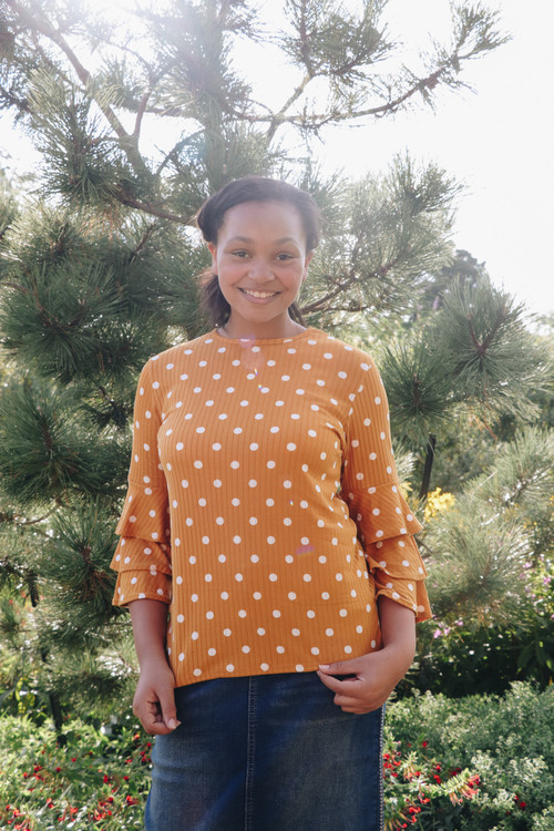 Hannah Polka Dot Ruffle Sleeve Shirt Mustard *Final Sale*